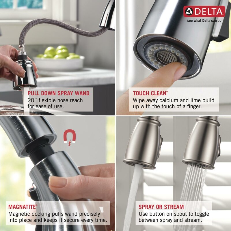 Gentil Kate Pull Down Single Handle Kitchen Faucet With Diamond Seal Technology  And MagnaTite® Docking