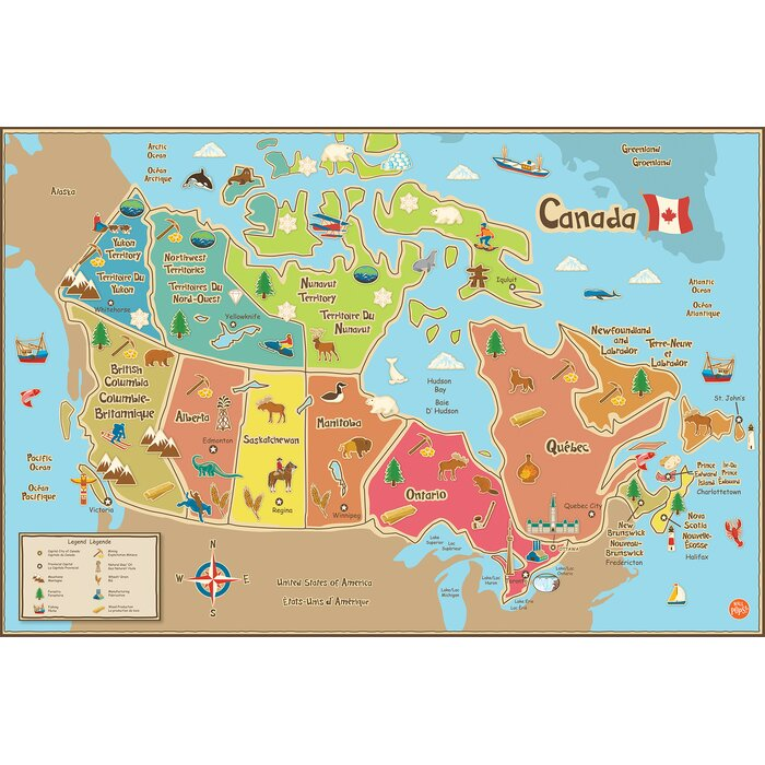WallPops Kids Canada Map Wall Mural Part 65