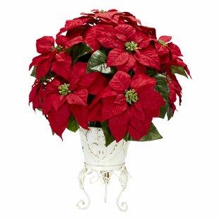 Artificial flower arrangements youll love wayfair poinsettia wmetal planter silk floral arrangements mightylinksfo