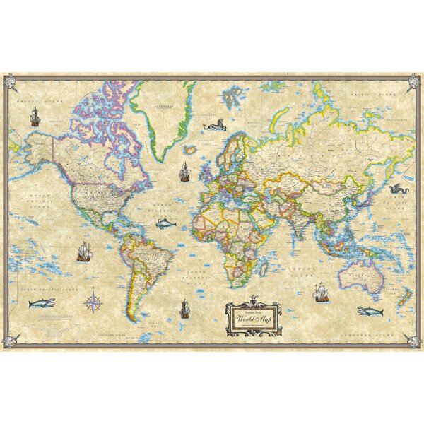universal map antique style world laminated rolled map wayfair