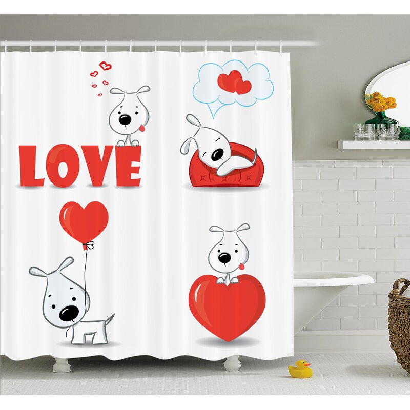 Grundy Funny Dog With Hearts Shower Curtain Set