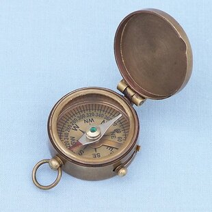 Steady Nautical Antique Solid Brass Handicraft Push Button 2 Inche Pocket Compass Item Clearance Price Maritime