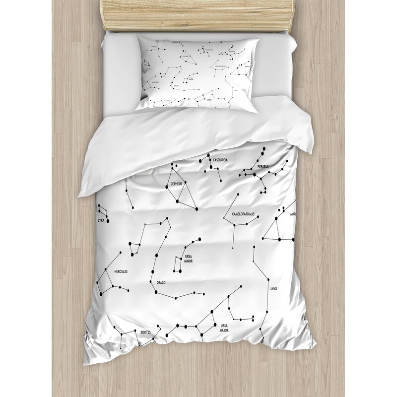 Ambesonne Constellation Astronomic Theme Group Of Stars Names Clical Scientific Composition Duvet Cover Set Wayfair