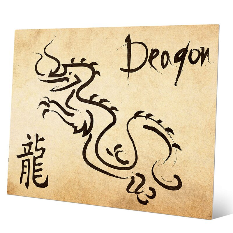 Chinese Zodiac Dragon Paper Graphic Art on Plaque