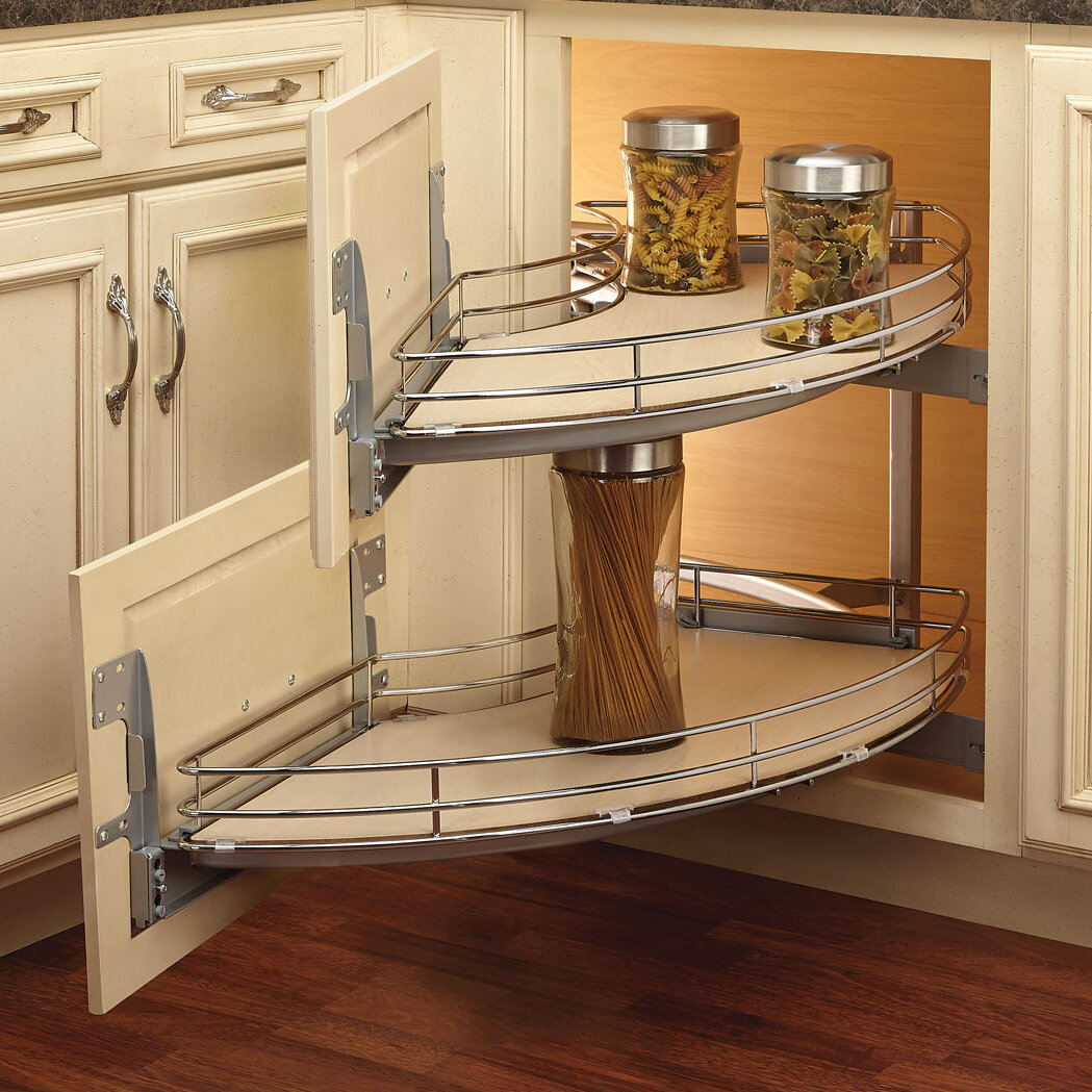 Corner Pantry Shelves: Rev-A-Shelf Curve Two-Tier Right-Handed Blind Corner