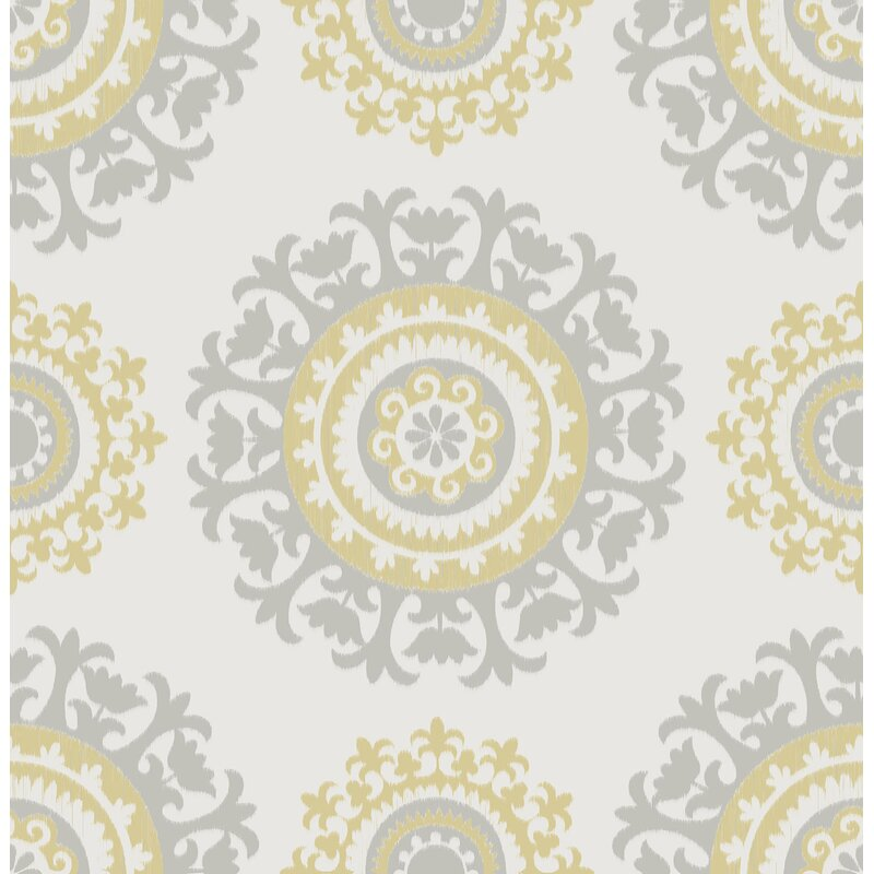 "Grey and Yellow 18' x 20.5"" Suzani Peel And Stick Wallpaper Roll"