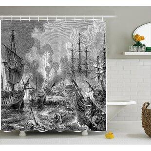 Merveilleux Gray Naval Battle Vintage War Shower Curtain