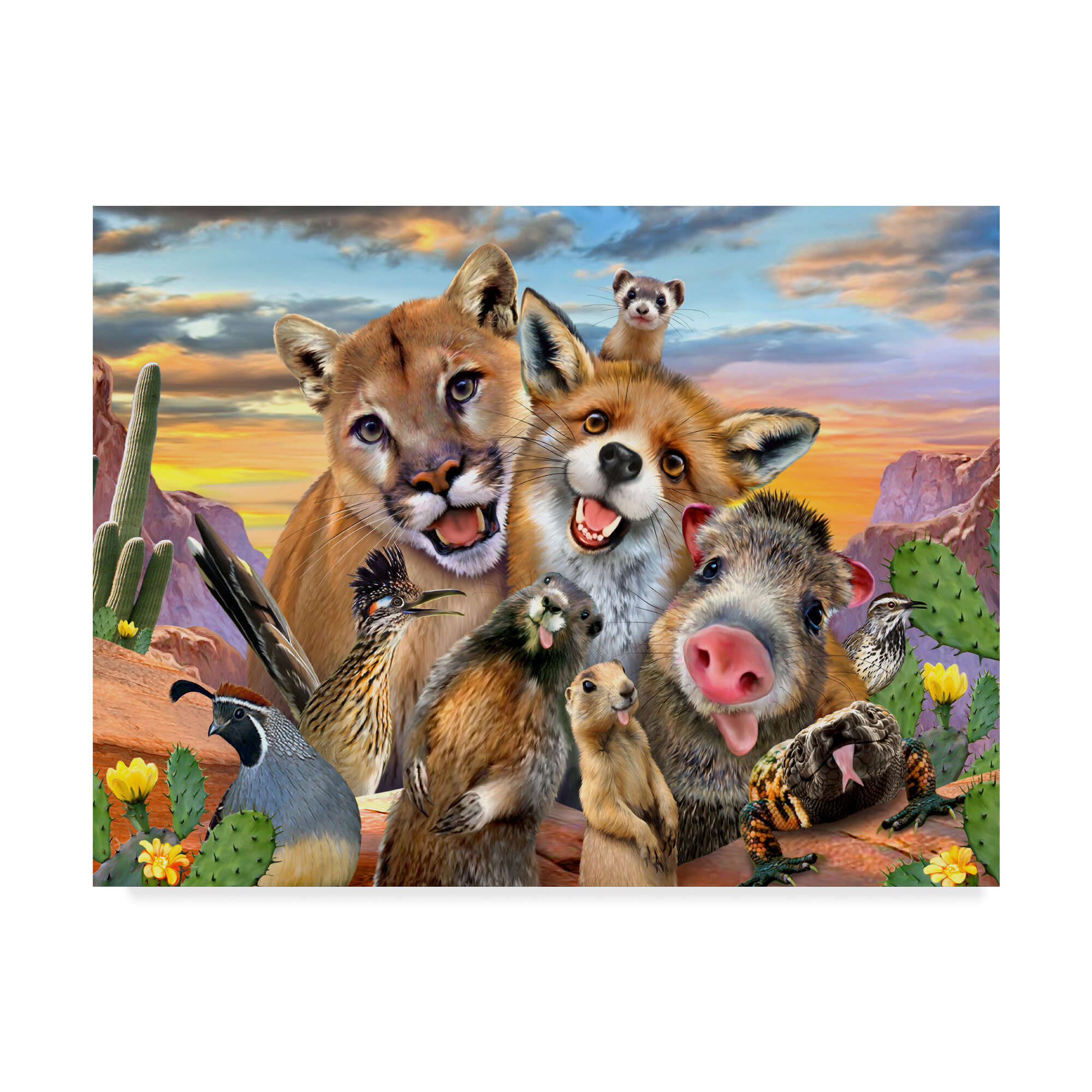 trademark art goofy animals acrylic painting print on wrapped