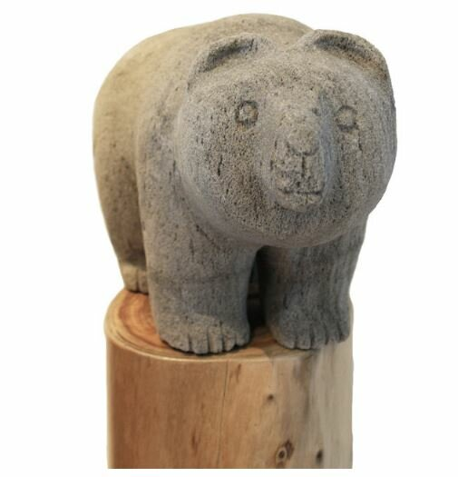 Hand Carved Pumice Stone Garden Bear Statue