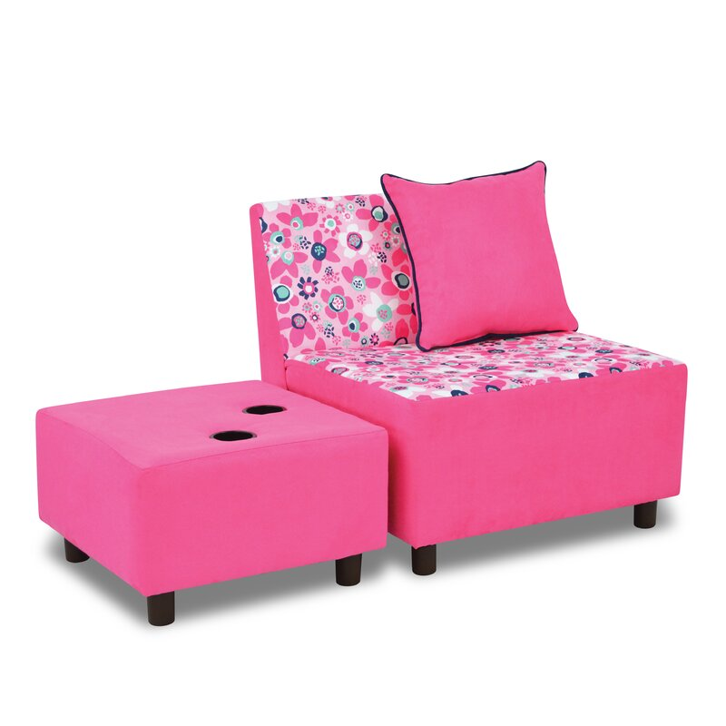 Beautiful Tween Kids Chair And Ottoman With Cup Holder