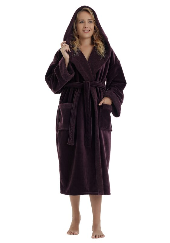 0e926cd0b9 Arus Women s Sherpa Trim Touch Fleece Bathrobe   Reviews