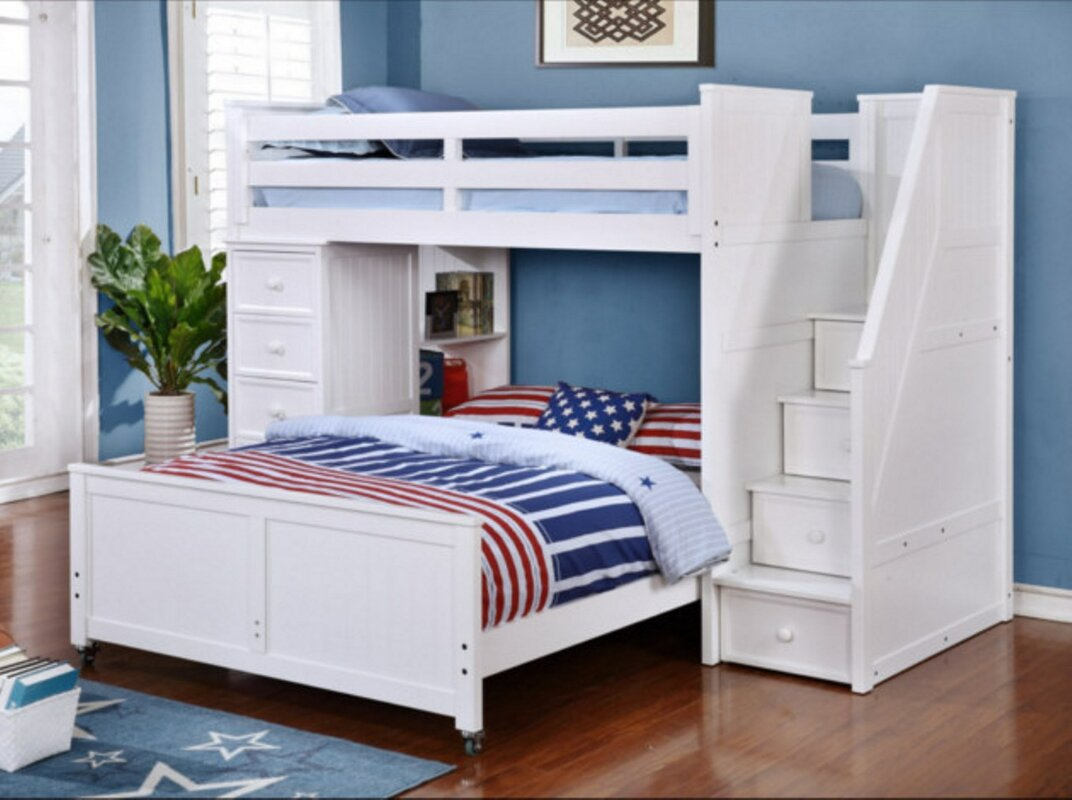 This pine L-shaped bunk with twin-over-twin includes a desk area