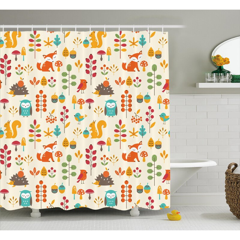 Julian Owl Fox Squirrel Birds Shower Curtain