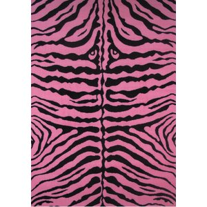 Fun Time Pink Zebra Skin Area Rug