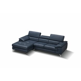 a638638dcf9d9 Navy Blue Leather Sectional | Wayfair