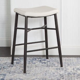 Seidl Saddle Upholstered Stationary Backless 29 Bar Stool