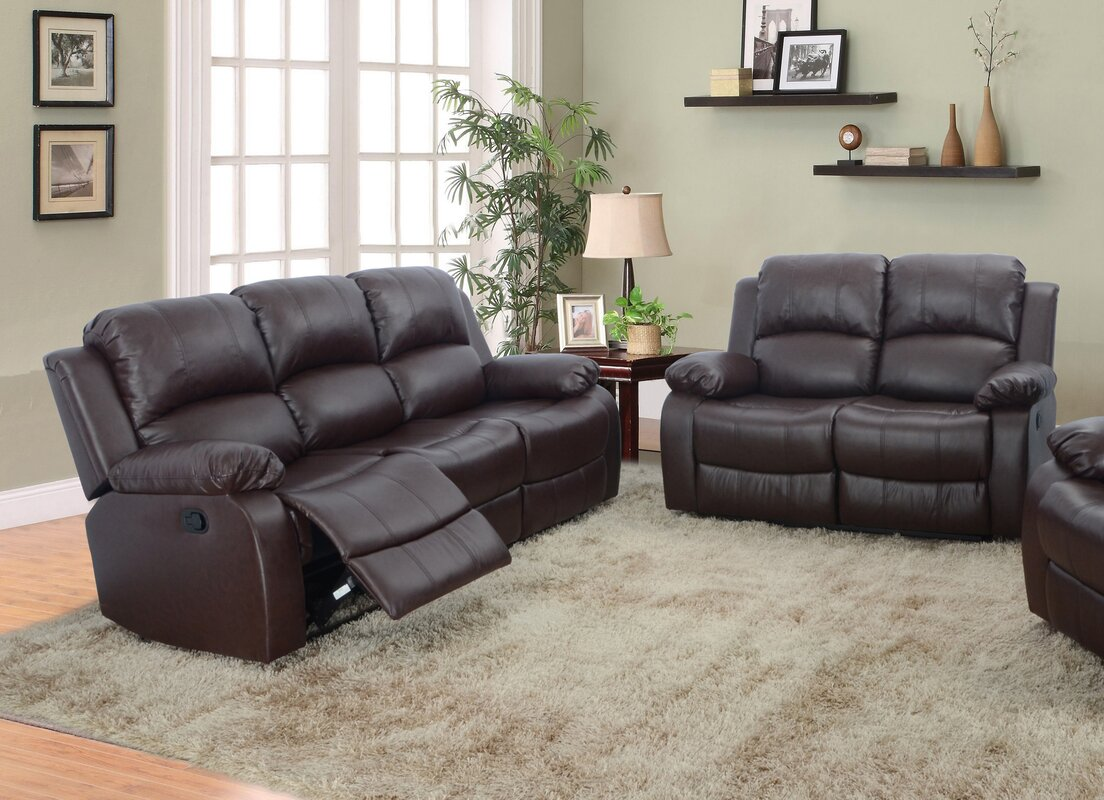 Red barrel studio maumee 2 piece leather living room set for Living room sets under 800