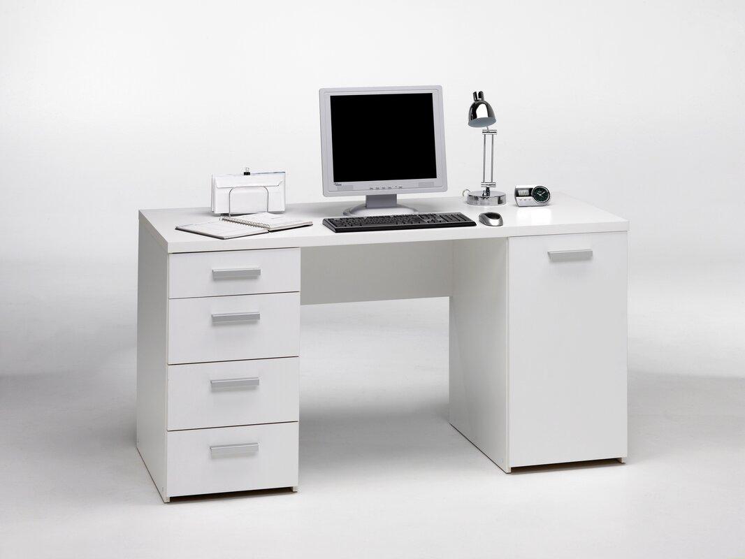 White Executive Desk With Drawers tvilum whitman plus executive desk & reviews | wayfair