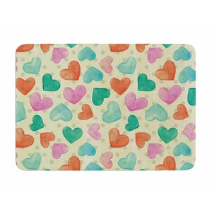 Watercolor Hearts by Louise Machado Memory Foam Bath Mat
