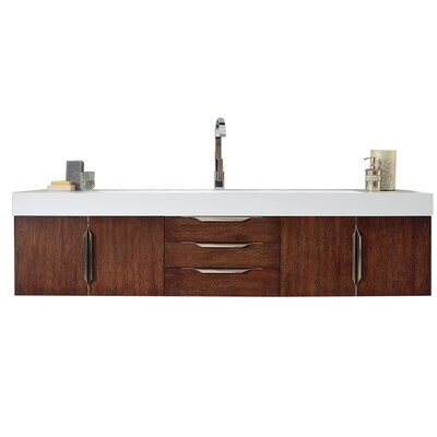 Brayden Studio Whitstran 73 Wall-Mounted Single Bathroom Vanity Set Base Finish: Coffee Oak