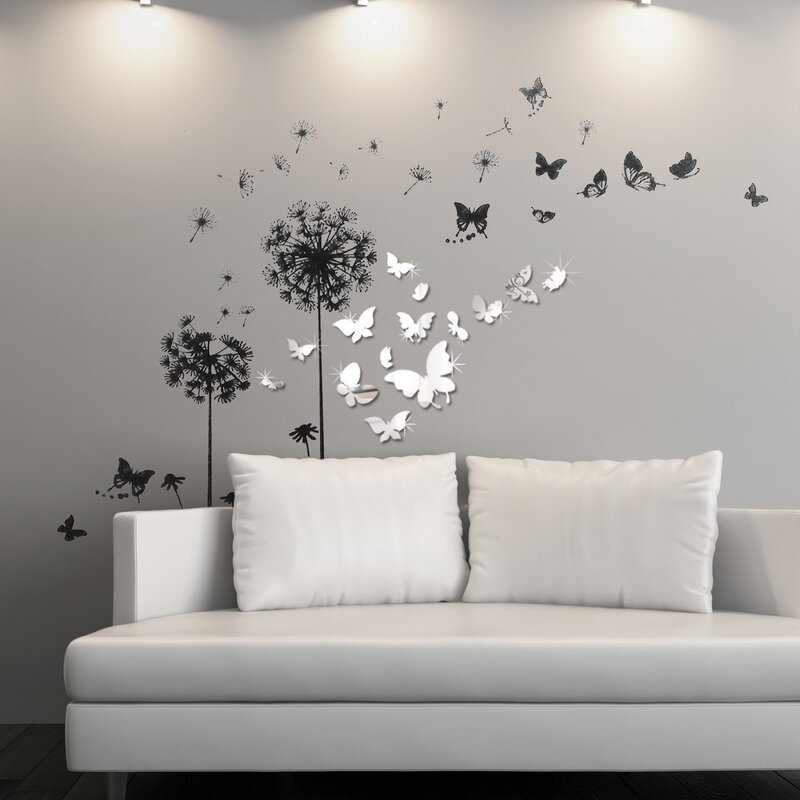 ebern designs viens mirror butterfly transparent dandelion wall