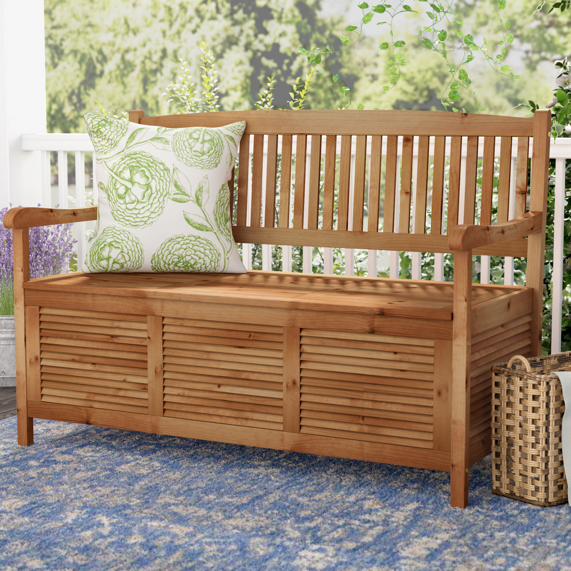 One Allium Way Brisbane Acacia Garden Storage Bench Reviews Wayfair