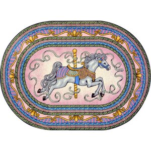 Hand-Tufted Blue/Pink/Yellow Area Rug