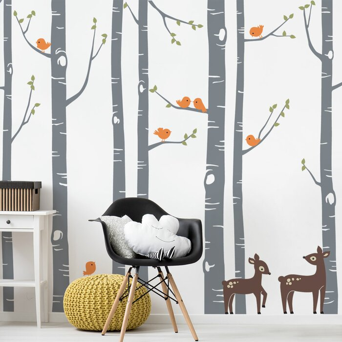 Birch Tree With Bird And Deer Wall Decal