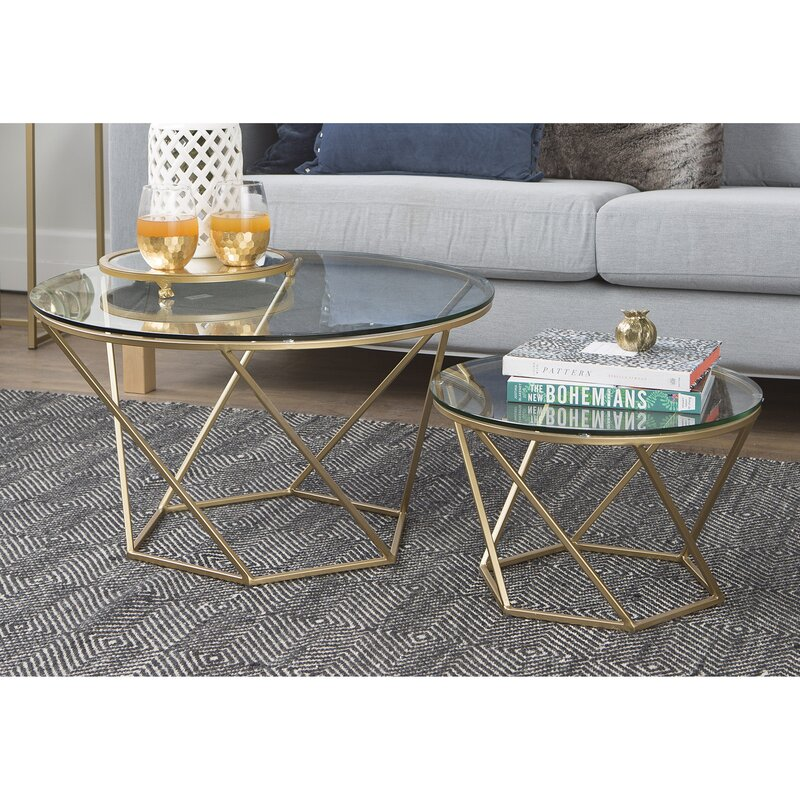 Glass Coffee Tables Next: Everly Quinn Aman Geometric Glass 2 Piece Coffee Table Set