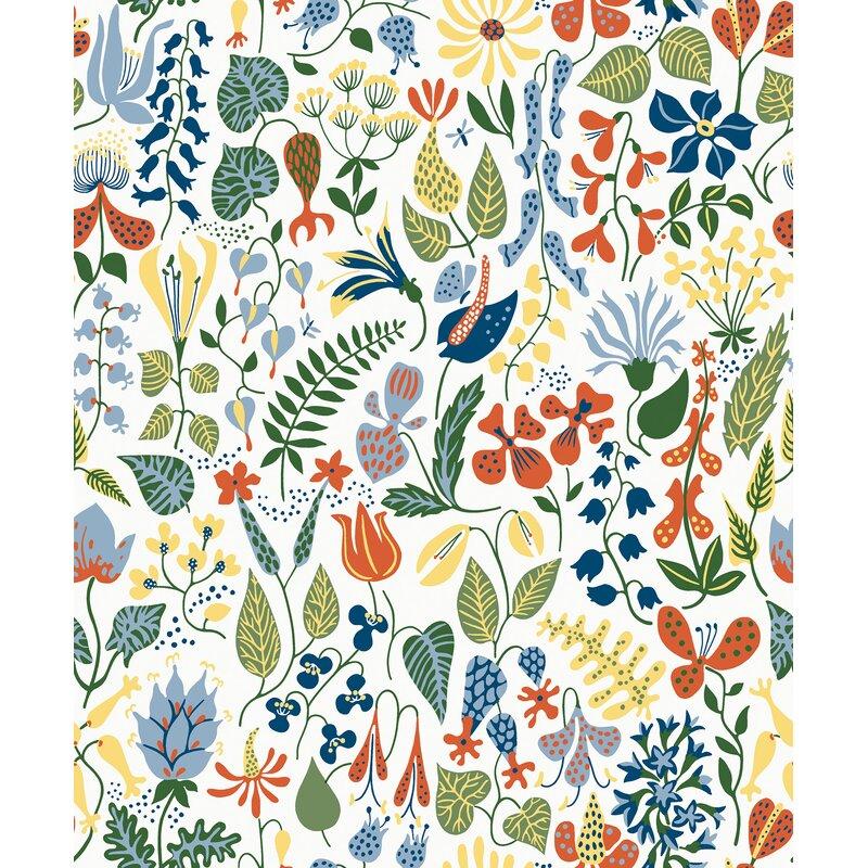 "Brewster Home Fashions Wall Vision 33' x 20.9"" Herbarium Motif Wallpaper Roll"