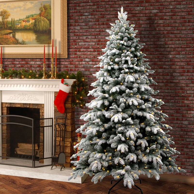 Snowy Avalanche 7.5' White/Green Fir Trees Artificial Christmas Tree with  LED Colored and - The Holiday Aisle Snowy Avalanche 7.5' White/Green Fir Trees