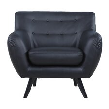 Mid Century Modern Tufted Bonded Leather Club Chair
