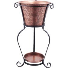Solid Copper Etched Beverage Tub with Stand