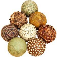 Autumnal 8 Piece Natural Ball Sculpture Set