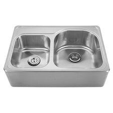 "Noah's 33"" x 22"" Front - Apron 40/60 Bowl Drop In Kitchen Sink"