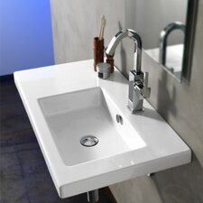 """Condal 31.5"""" Rectangular Ceramic Wall Mounted Sink with Overflow"""