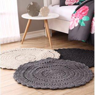 Wool Round Rug 3x3 Grey