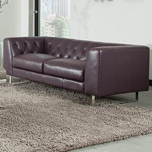 Faya Leather Chesterfield Loveseat by Orren Ellis