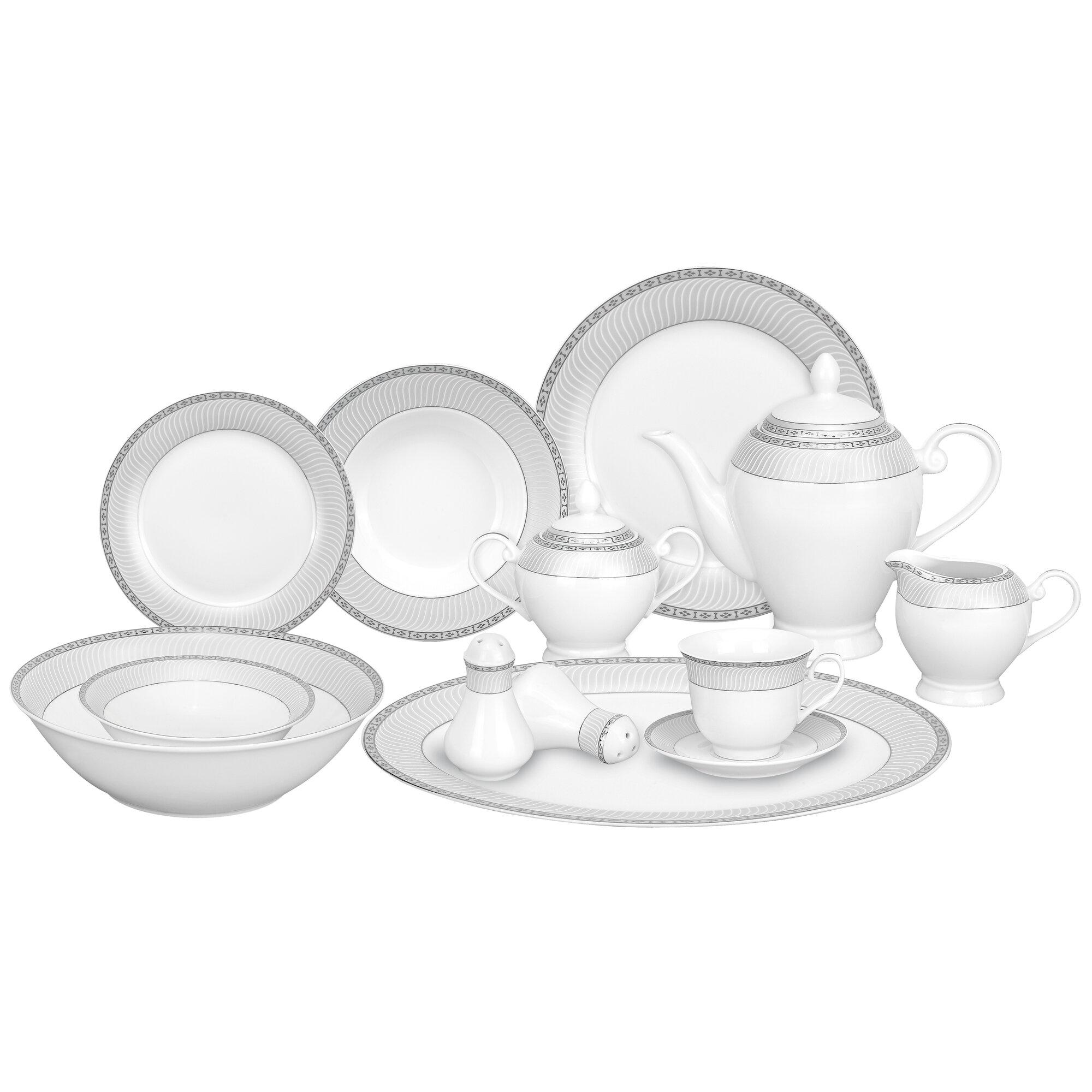 Lorren Home Trends Alina Porcelain 57 Piece Dinnerware Set Service for 8 u0026 Reviews   Wayfair  sc 1 st  Wayfair & Lorren Home Trends Alina Porcelain 57 Piece Dinnerware Set Service ...