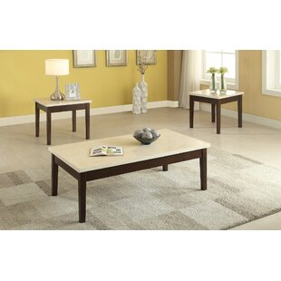 Denico Wooden 3 Piece Coffee Table Set with Faux Marble Top  sc 1 st  Wayfair & Faux Marble Coffee Table Set   Wayfair