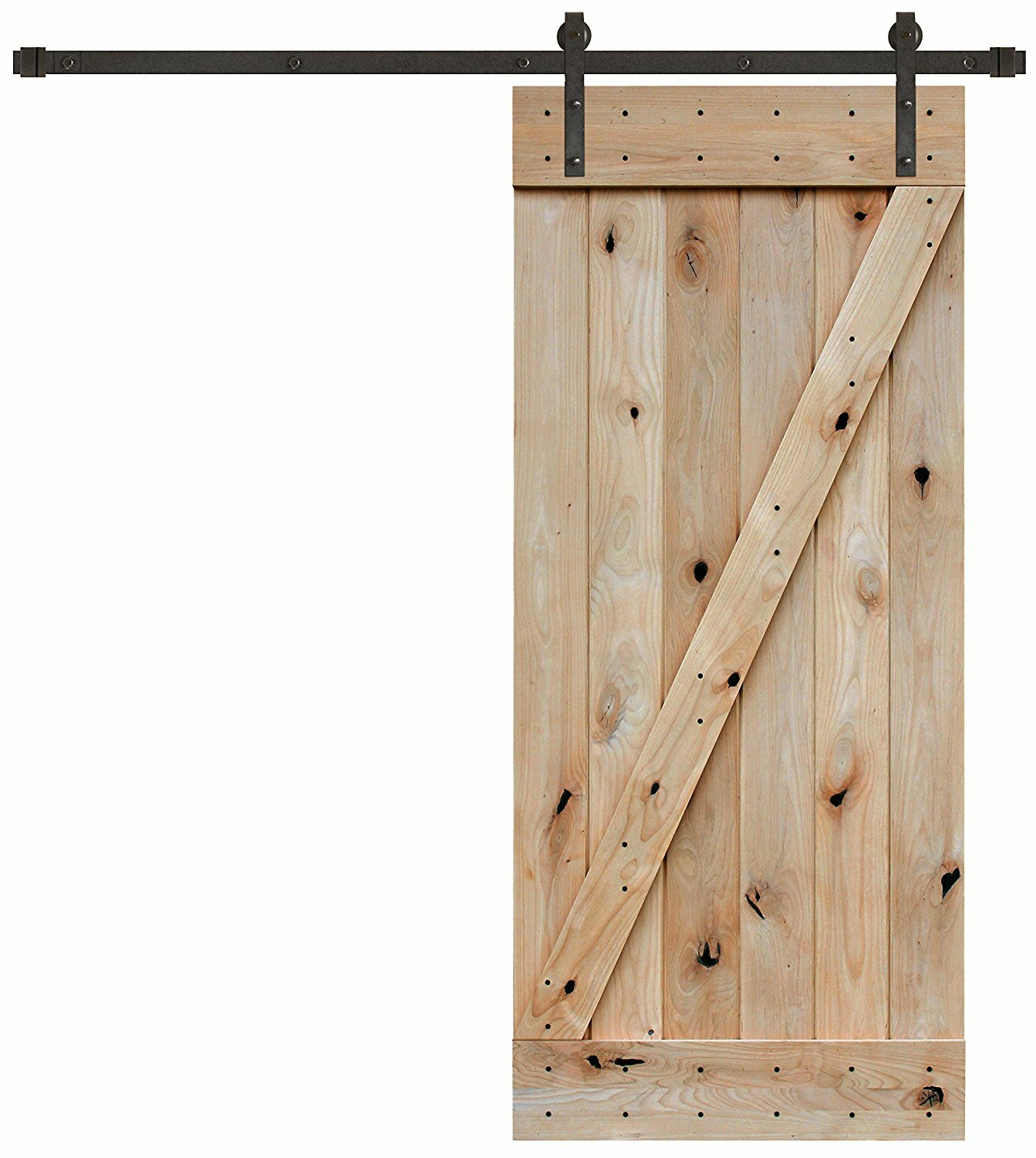 Bon LegendsInternationalLLC Z Bar Knotty Alder Wood 1 Panel Interior Barn Door  | Wayfair