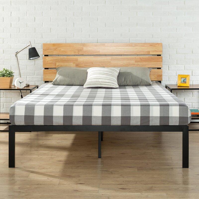 zinus sonoma metal/wood platform bed & reviews   wayfair