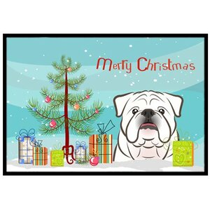 Christmas Tree and White English Bulldog Doormat