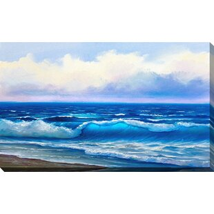 3e574c817d  Painted Blue Waves  Graphic Art Print on Wrapped Canvas