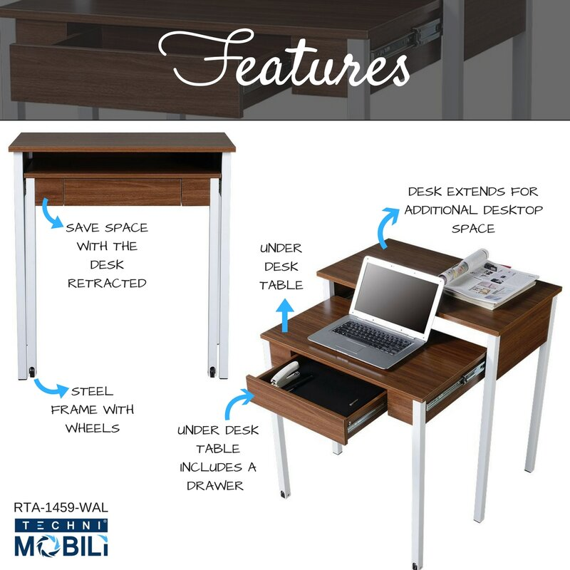 Techni Mobili Compact Retractable Writing Desk Amp Reviews