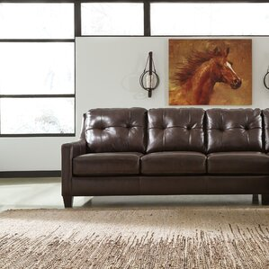 Stouffer Left Hand Facing Leather Sleeper Sofa by Red Barrel Studio