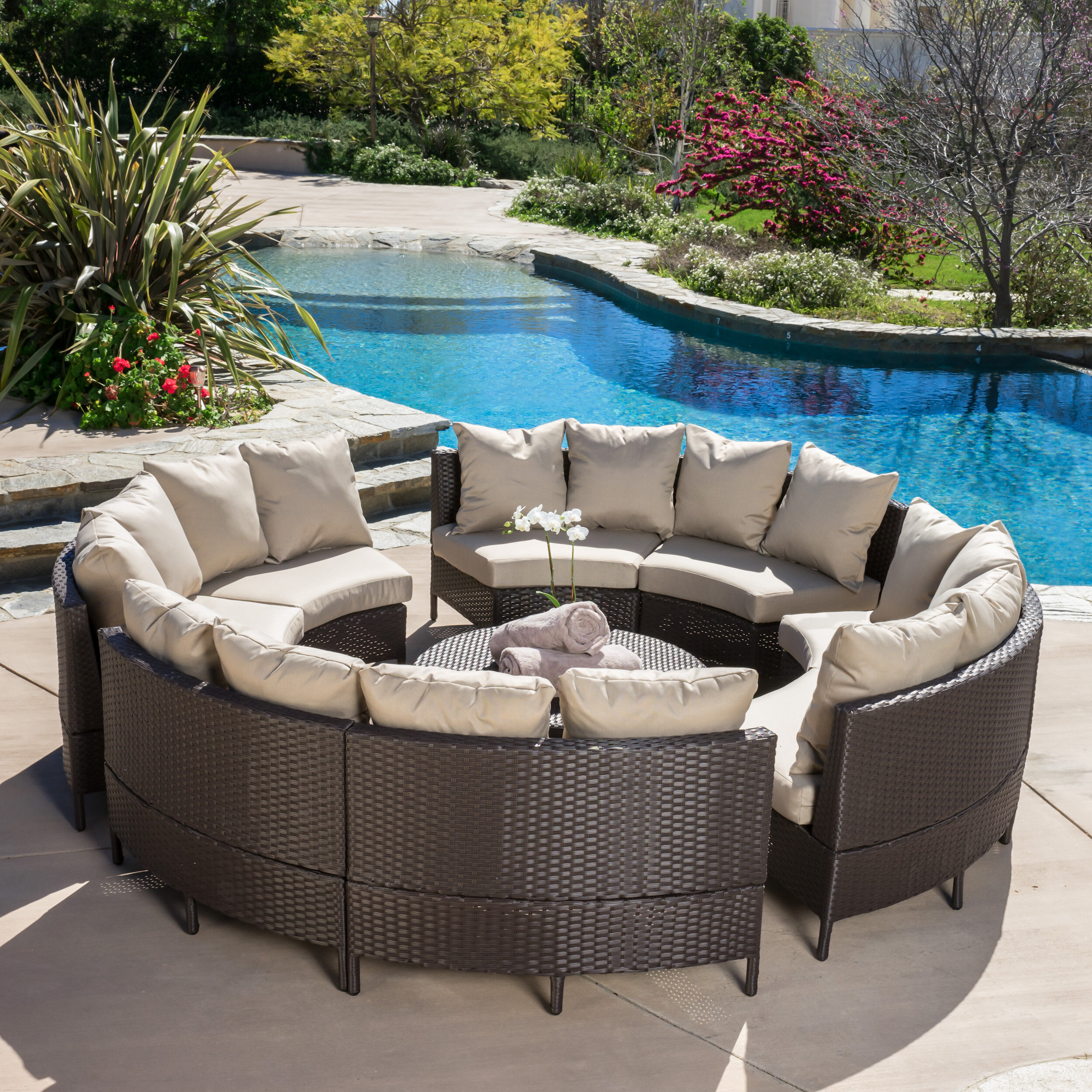 Beachcrest Home Sena 10 Piece Rattan Sectional Seating Group With Cushions Reviews Wayfair