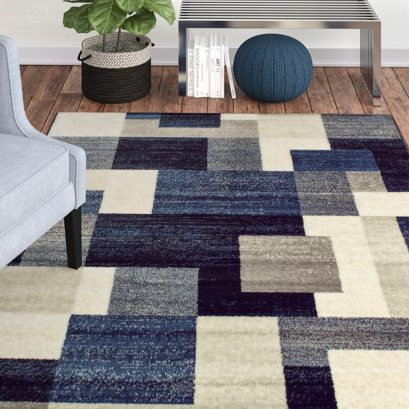 Orren Ellis Taira Block Blue Area Rug Amp Reviews Wayfair