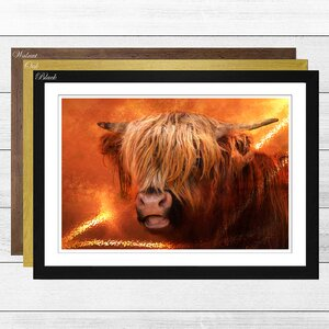 'Highland Cow' Framed Graphic Art