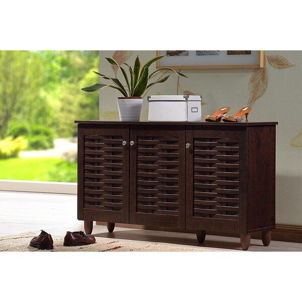darby home co 12pair espresso shoe storage cabinet u0026 reviews wayfair